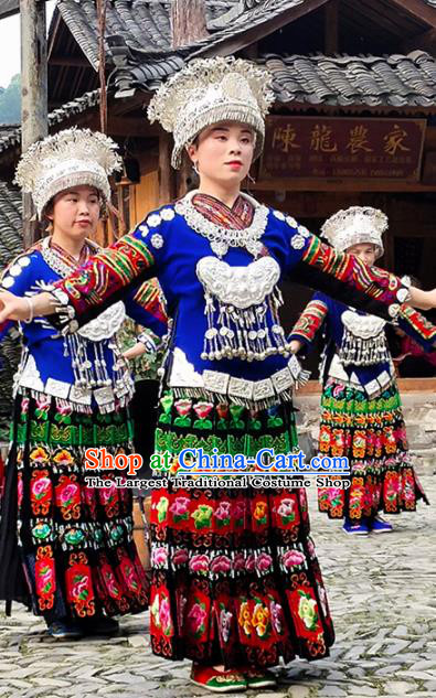 Chinese Traditional Miao Nationality Embroidered Costume Ethnic Folk Dance Dress and Hat for Women