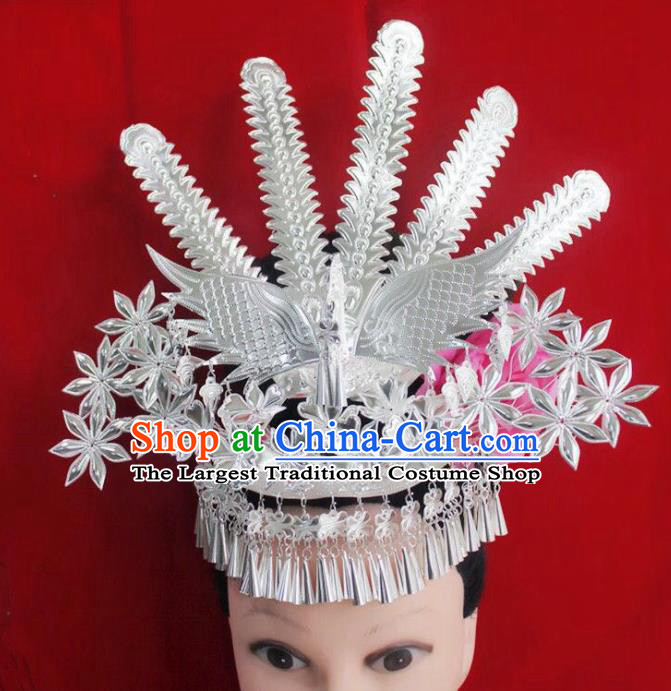 Chinese Traditional Handmade Miao Nationality Phoenix Hairpins Ethnic Wedding Hair Accessories for Women