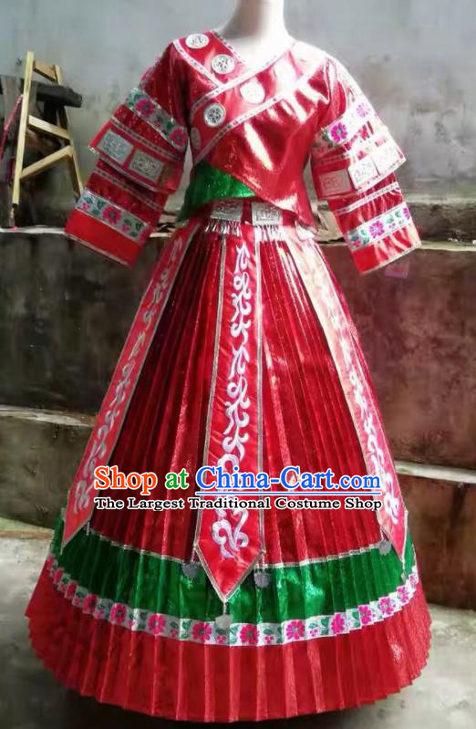Chinese Traditional Miao Nationality Embroidered Costume Ethnic Folk Dance Red Dress for Women