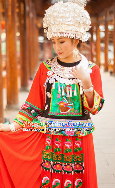 Chinese Traditional Miao Nationality Embroidered Costume and Headwear Ethnic Folk Dance Red Dress for Women