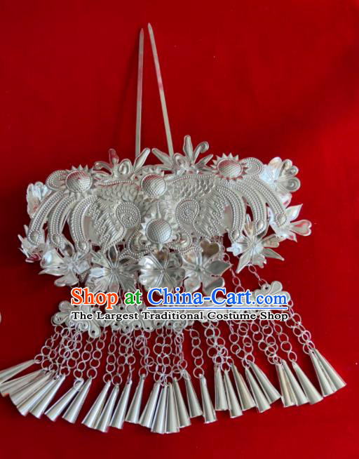 Chinese Traditional Handmade Miao Nationality Bride Tassel Hairpins Ethnic Wedding Hair Accessories for Women