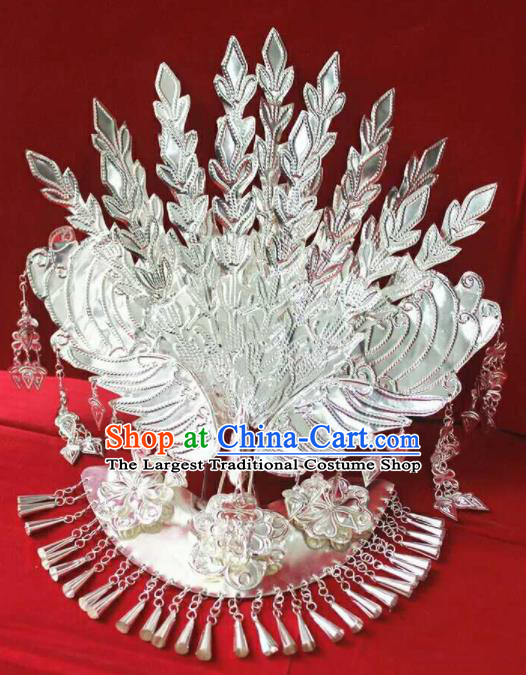 Chinese Traditional Handmade Miao Nationality Silver Phoenix Coronet Hairpins Ethnic Wedding Hair Accessories for Women