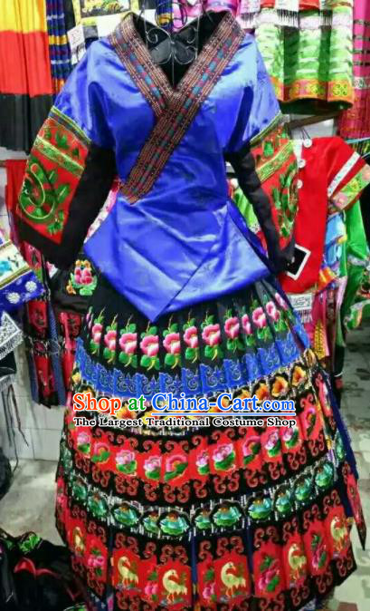 Chinese Traditional Miao Nationality Embroidered Royalblue Dress Ethnic Folk Dance Costume for Women