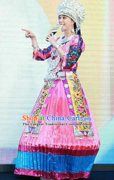 Chinese Traditional Miao Nationality Embroidered Pink Dress Ethnic Folk Dance Costume and Headwear for Women