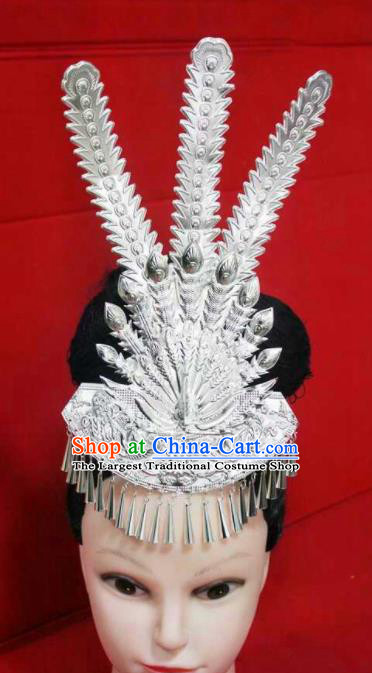 Chinese Traditional Handmade Miao Nationality Silver Phoenix Hair Crown Hairpins Ethnic Wedding Hair Accessories for Women