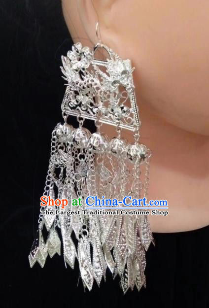 Chinese Handmade Traditional Miao Nationality Silver Earrings Ethnic Wedding Bride Accessories for Women