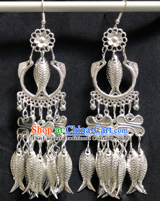 Chinese Handmade Traditional Miao Nationality Silver Fishes Tassel Earrings Ethnic Wedding Bride Accessories for Women