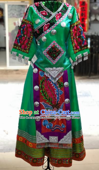 Chinese Traditional Miao Nationality Bride Embroidered Green Dress Ethnic Folk Dance Costume for Women