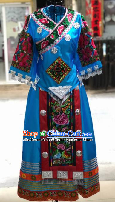 Chinese Traditional Miao Nationality Bride Embroidered Blue Dress Ethnic Folk Dance Costume for Women