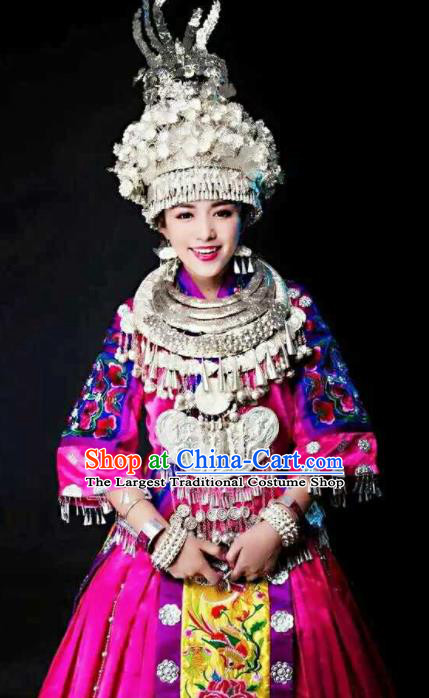 Chinese Traditional Miao Nationality Bride Embroidered Rosy Dress Ethnic Folk Dance Costume and Headwear for Women