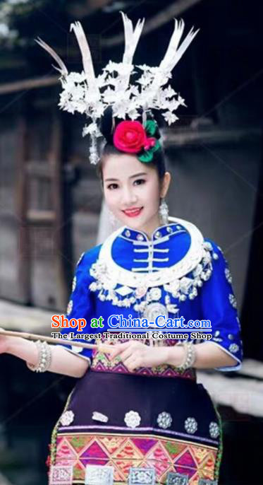 Chinese Traditional Miao Nationality Bride Embroidered Dress Ethnic Folk Dance Costume and Headwear for Women