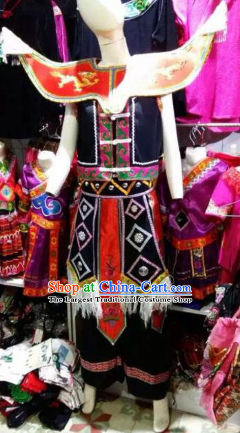 Chinese Traditional Miao Nationality Bridegroom Black Costume Ethnic Folk Dance Clothing for Men