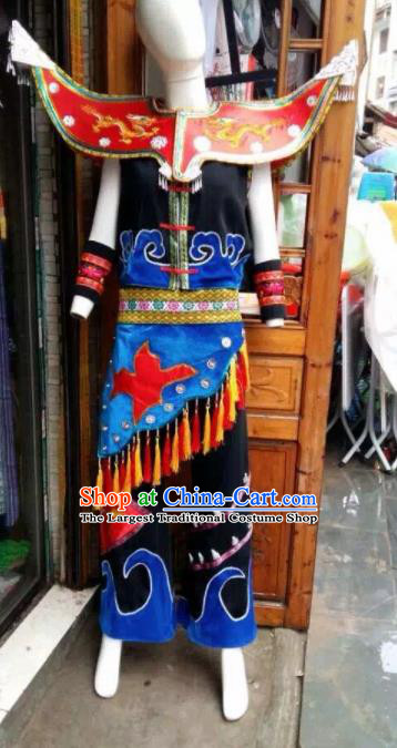 Chinese Traditional Miao Nationality Bridegroom Costume Ethnic Folk Dance Clothing for Men