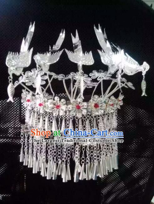 Chinese Traditional Handmade Miao Nationality Five Birds Hair Crown Silver Hairpins Ethnic Wedding Hair Accessories for Women