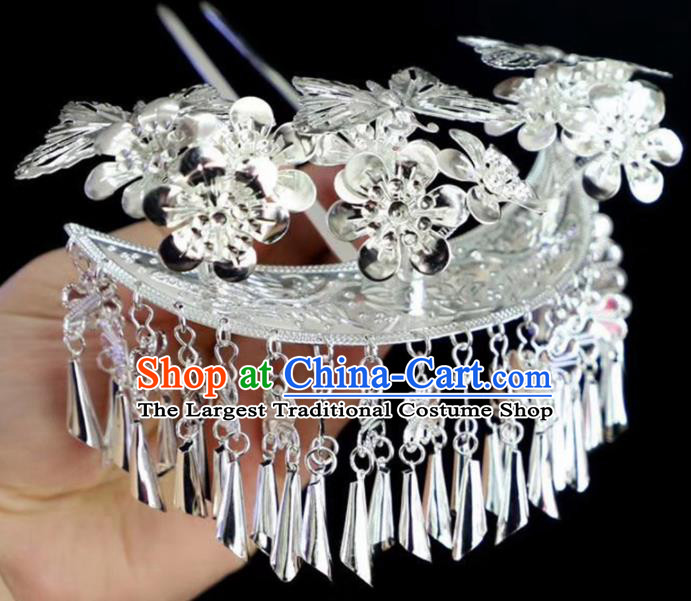 Chinese Traditional Handmade Miao Nationality Butterfly Hair Crown Silver Hairpins Ethnic Wedding Hair Accessories for Women
