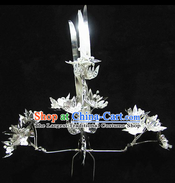 Chinese Traditional Handmade Miao Nationality Phoenix Hair Crown Silver Hairpins Ethnic Wedding Hair Accessories for Women