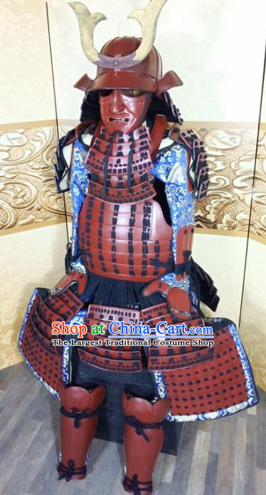 Japanese Handmade Traditional Samurai Red Body Armor and Helmet Ancient Warrior Costumes for Men