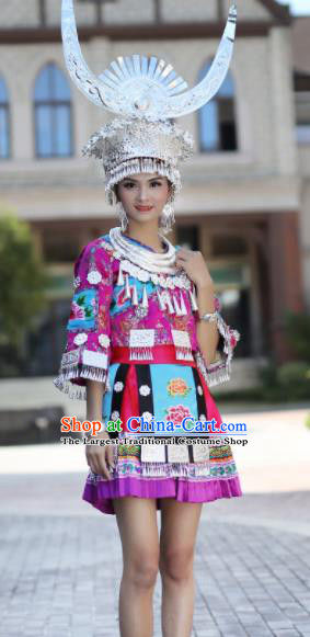 Chinese Traditional Miao Nationality Embroidered Purple Short Dress Ethnic Folk Dance Costume for Women