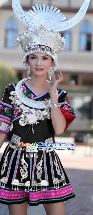 Chinese Traditional Miao Nationality Embroidered Black Short Dress and Headpiece Ethnic Folk Dance Costume for Women