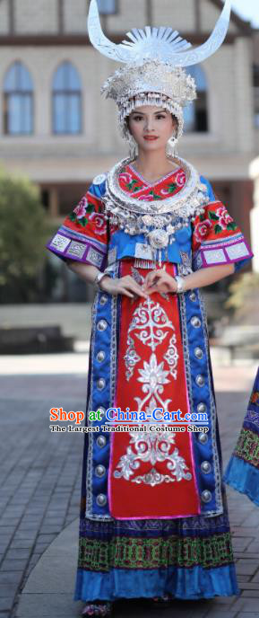 Chinese Traditional Miao Nationality Embroidered Royalblue Dress and Headpiece Ethnic Folk Dance Costume for Women