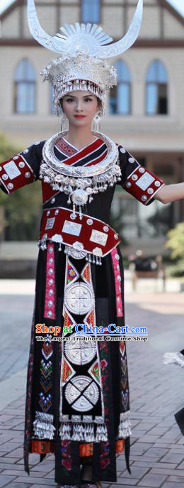 Chinese Traditional Miao Nationality Embroidered Black Dress and Headpiece Ethnic Folk Dance Costume for Women