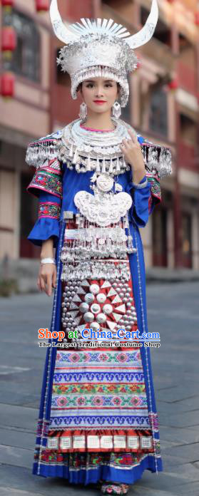 Chinese Traditional Miao Nationality Wedding Embroidered Royalblue Dress and Headpiece Ethnic Folk Dance Costume for Women