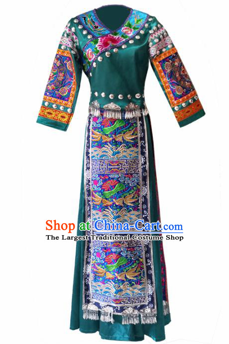 Chinese Traditional Tujia Nationality Wedding Embroidered Green Dress Ethnic Folk Dance Costume for Women