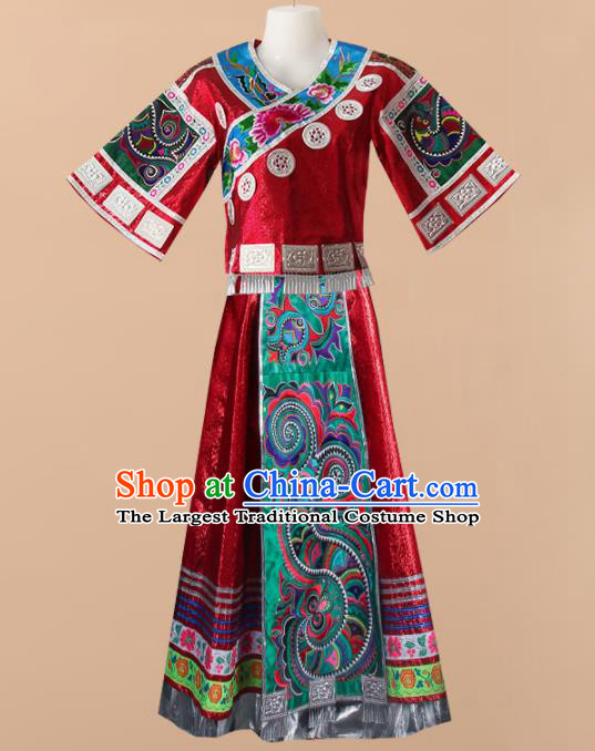 Chinese Traditional Tujia Nationality Wedding Embroidered Red Dress Ethnic Folk Dance Costume for Women