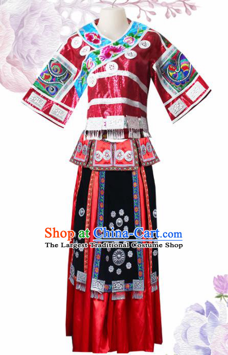 Chinese Traditional Guangxi Miao Nationality Wedding Embroidered Red Dress Ethnic Folk Dance Costume for Women