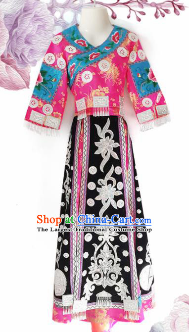 Chinese Traditional Guizhou Miao Nationality Wedding Embroidered Pink Dress Ethnic Folk Dance Costume for Women