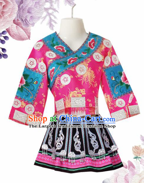 Chinese Traditional Guizhou Miao Nationality Wedding Embroidered Pink Short Dress Ethnic Folk Dance Costume for Women