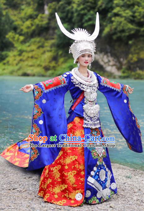 Chinese Traditional Xiangxi Miao Nationality Wedding Embroidered Royalblue Dress Ethnic Folk Dance Costume and Headpiece for Women