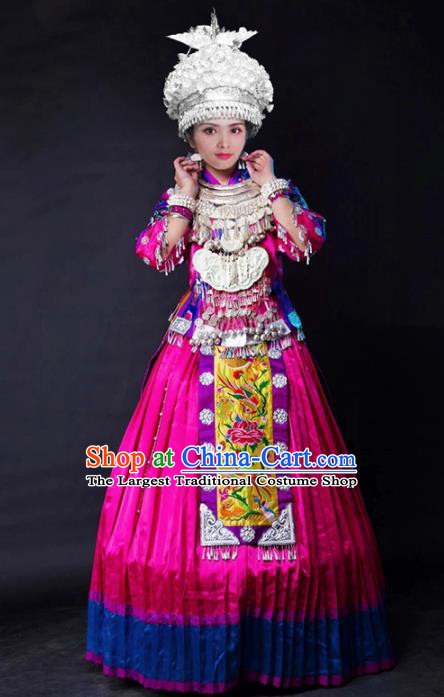 Chinese Traditional Xiangxi Miao Nationality Wedding Embroidered Rosy Dress Ethnic Folk Dance Costume and Headpiece for Women