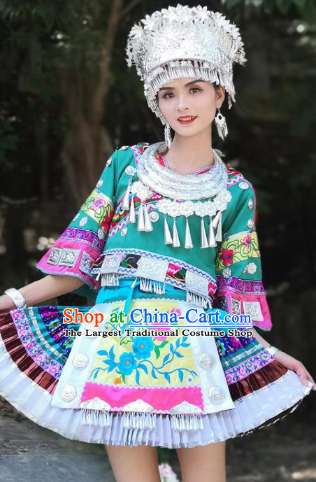Chinese Traditional Xiangxi Miao Nationality Embroidered Green Short Dress Ethnic Folk Dance Costume and Headpiece for Women