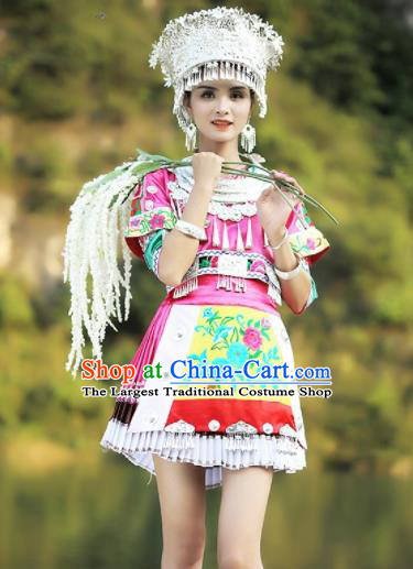 Chinese Traditional Xiangxi Miao Nationality Embroidered Pink Short Dress Ethnic Folk Dance Costume and Headpiece for Women