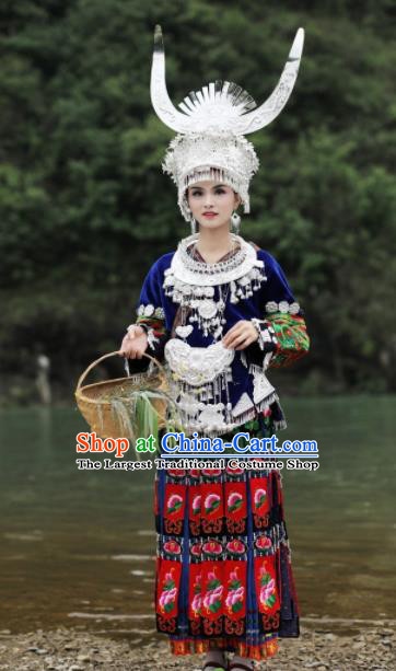 Chinese Traditional Xiangxi Miao Nationality Embroidered Deep Blue Dress Ethnic Folk Dance Costume and Headpiece for Women