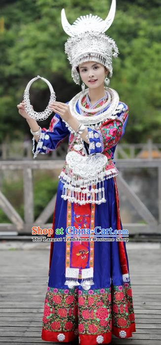 Chinese Traditional Miao Nationality Festival Embroidered Royalblue Dress Ethnic Folk Dance Costume and Headpiece for Women