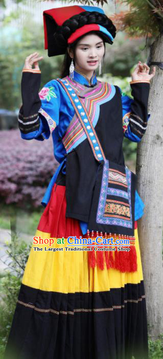 Chinese Traditional Yi Nationality Torch Festival Dress Ethnic Folk Dance Costume and Headpiece for Women