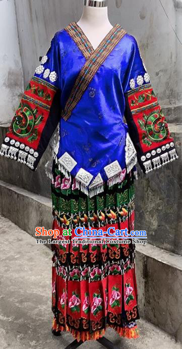 Chinese Traditional Miao Nationality Festival Blouse and Dress Ethnic Folk Dance Costume for Women