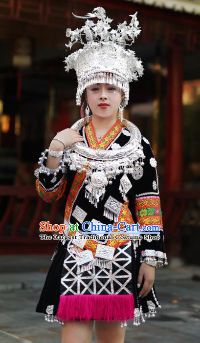Chinese Traditional Miao Nationality Embroidered Black Short Dress Ethnic Folk Dance Costume for Women