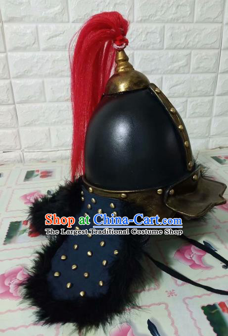 Chinese Handmade Traditional Ming Dynasty Soldier Helmet Ancient General Hat for Men