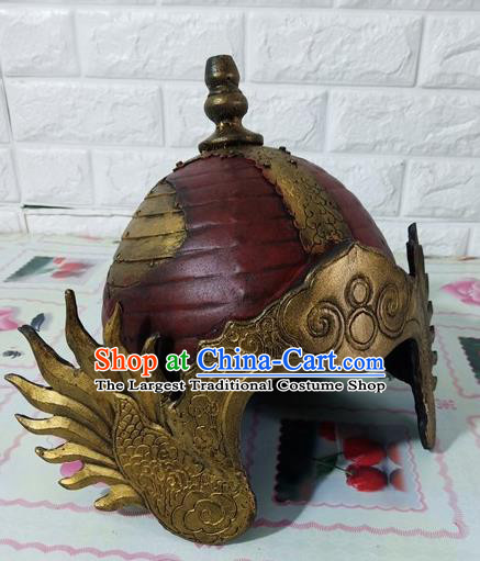 Chinese Handmade Traditional Tang Dynasty Soldier Red Helmet Ancient General Hat for Men