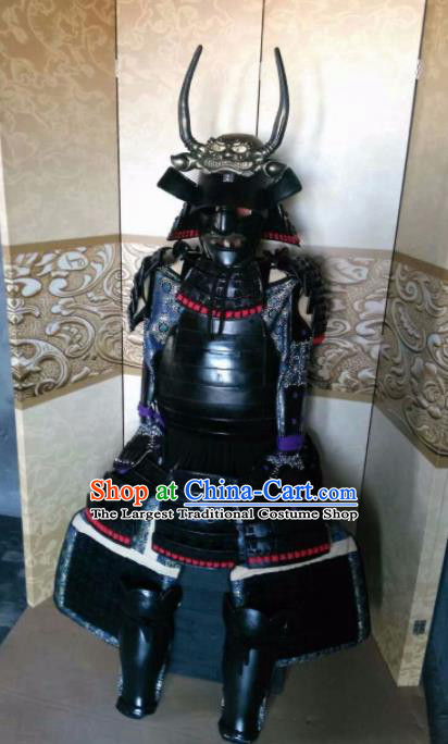 Japanese Handmade Traditional Samurai General Body Armor and Helmet Ancient Warrior Costumes for Men