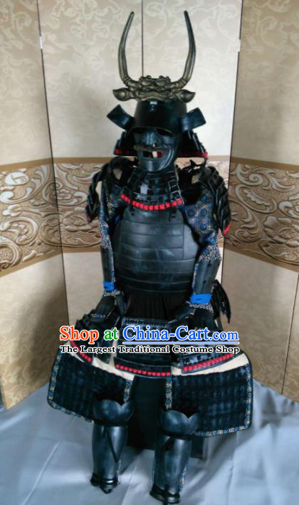 Japanese Handmade Traditional Samurai General Black Body Armor and Helmet Ancient Warrior Replica Costumes for Men