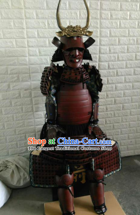 Japanese Handmade Traditional General Red Body Armor and Helmet Ancient Samurai Warrior Replica Costumes for Men
