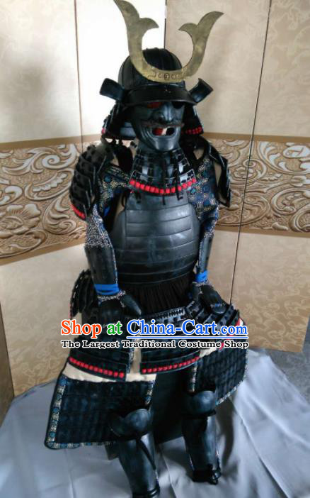 Japanese Handmade Traditional General Black Body Armor and Helmet Ancient Samurai Warrior Replica Costumes for Men