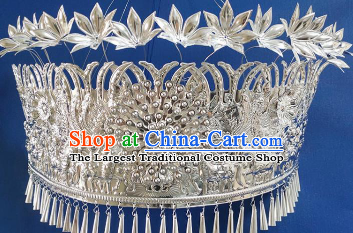 Chinese Traditional Handmade Miao Nationality Tassel Phoenix Coronet Ethnic Wedding Hair Accessories for Women