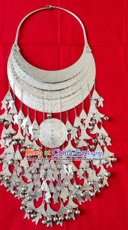 Chinese Handmade Traditional Miao Nationality Sliver Tassel Necklace Ethnic Wedding Accessories for Women