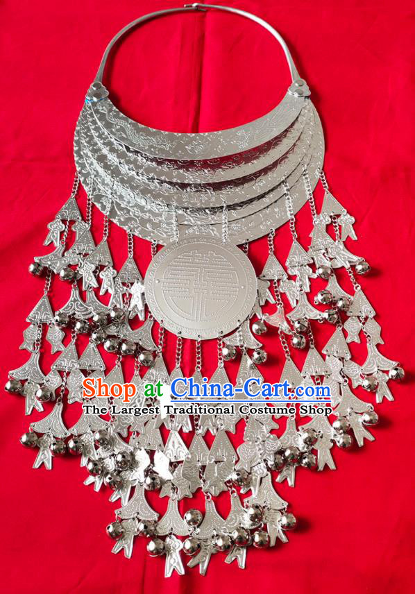 Chinese Handmade Traditional Miao Nationality Bride Sliver Tassel Necklace Ethnic Wedding Accessories for Women
