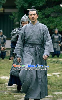 Chinese Ancient General Drama Novoland Eagle Flag Bai Yi Ken Chang Replica Costumes for Men